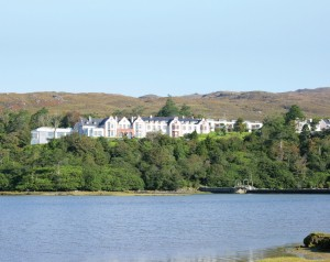 view of mulranny park hotel from Mulranny Pier and Clew Bay
